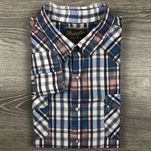 Wrangler Retro Watercolor Plaid Pearl Snap Shirt